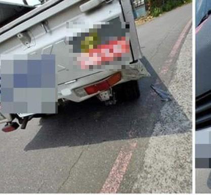 兩度被酒駕機車撞到的自小貨車。(擷取自爆料公社)