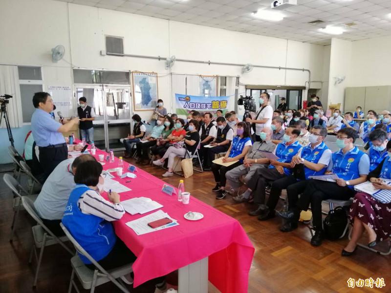 新竹縣政府今天在北埔鄉公所舉辦地方建設座談會。(記者蔡孟尚攝)