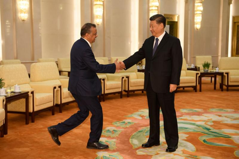 中國國家主席習近平(右)今年1月在北京人民大會堂接見來訪的世衛秘書長譚德塞(左)。(法新社檔案照)
