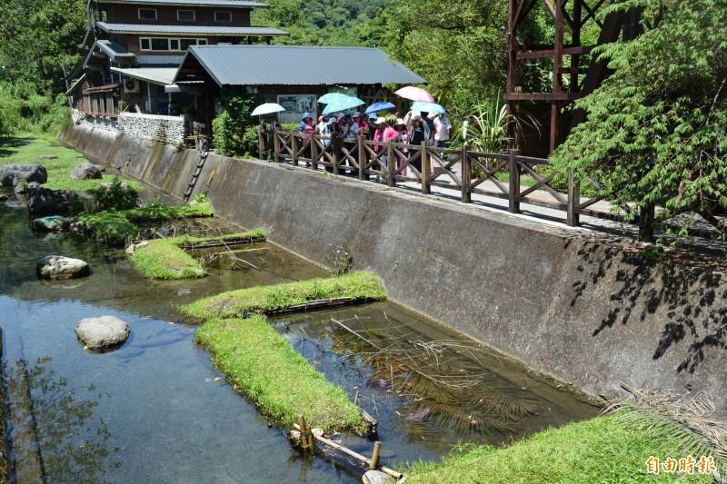 花蓮欣綠農園供遊客體驗阿美族巴拉告生態捕魚。(記者王峻祺攝)