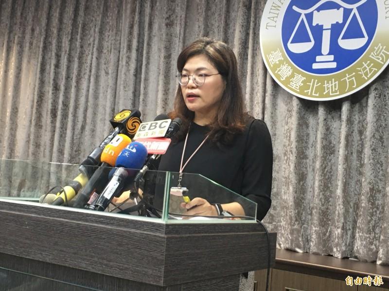 行政院驅離案今天宣判,台北地院審判長兼副發言人李殷君說明判馬英九等4人無罪的理由。(記者張文川攝)
