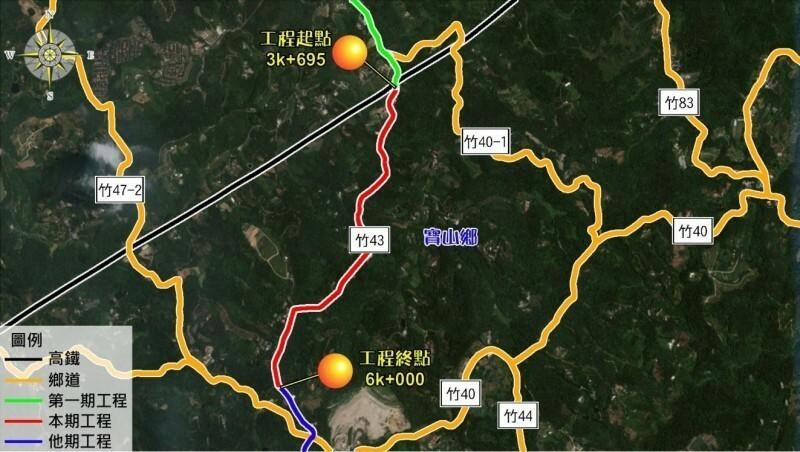 新竹科學園區北二高寶山交流道聯絡道拓寬工程第2期將於26日開工,施工路段範圍如圖中紅線。(新竹縣政府提供)