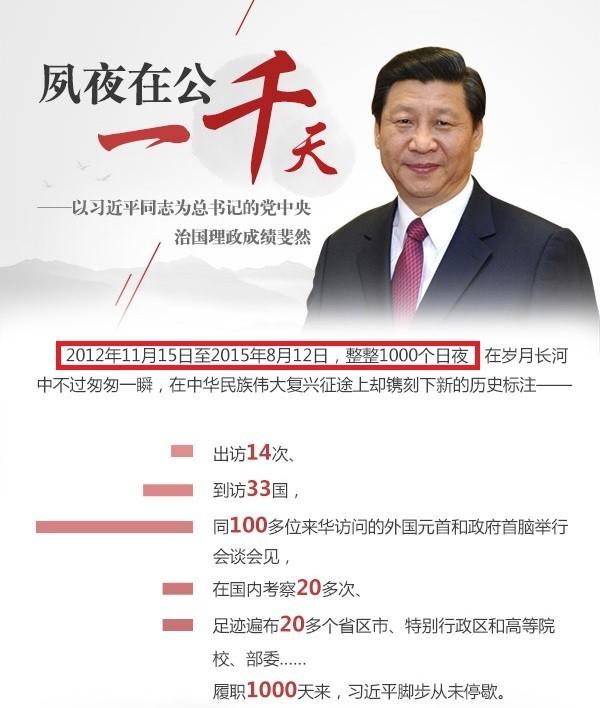中國天津市大爆炸當天,正巧是國家主席習近平上任後的第1000天,對於真正爆炸原因引發外界猜測。(圖擷自中國官媒《新華網》)