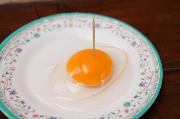 以天然放養生產的鴨蛋蛋白質高,蛋黃呈自然的橘紅色且稠度高,用牙籤戳洞也不會馬上散開。(記者潘自強攝)