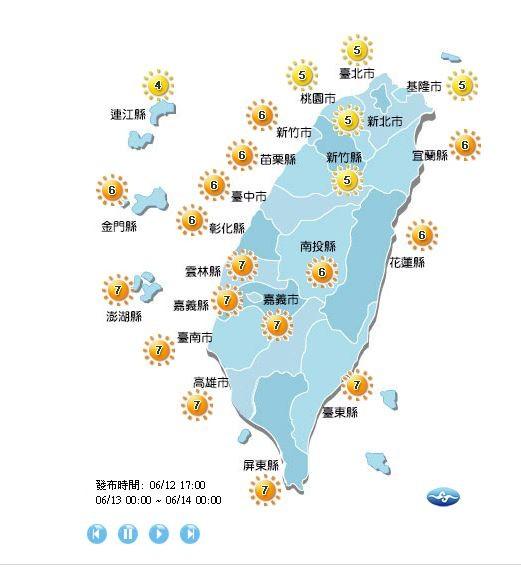 明天各地紫外線指數為「中量級」或「高量級」。(圖擷取自中央氣象局)