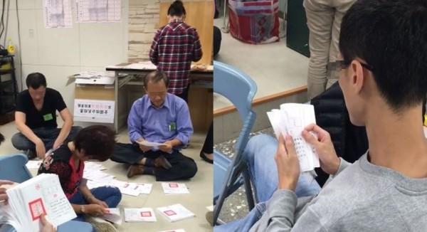 選務人員被民眾發現以「數鈔票」的方式計算公投票。(圖擷取自影片)
