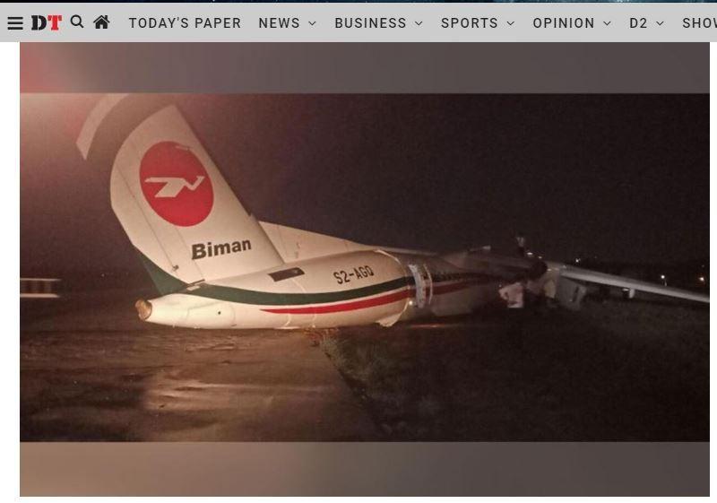 一架孟加拉航空公司的班機,在緬甸仰光國際機場衝出跑道,機身斷成數截。(圖擷取自Dhaka Tribune網站)