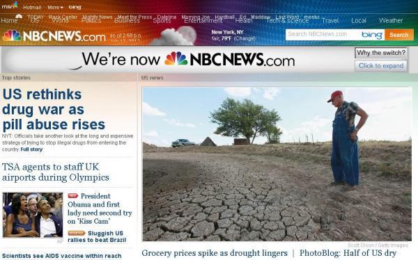 美國國家廣播公司NBC與微軟正式分家,網站由原本的MSNBC.com改成NBCNEWS.com。(圖擷取自NBC網站)