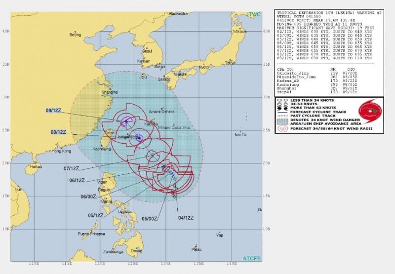 美軍預報顯示,5日起至9日中午12點,颱風會逐漸朝台灣東北方海面移動。(圖擷取自JTWC)