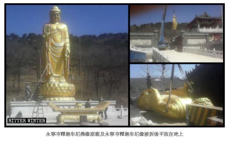 一尊10公尺高的釋迦牟尼像也被放倒,廟方只能為佛蓋上一塊防水布。(圖擷取自《寒冬》)