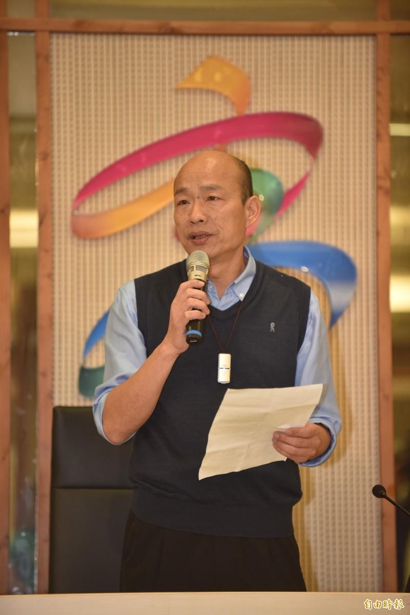 韓國瑜今發表5點聲明,強調此時此刻無法參與初選。(記者張忠義攝)