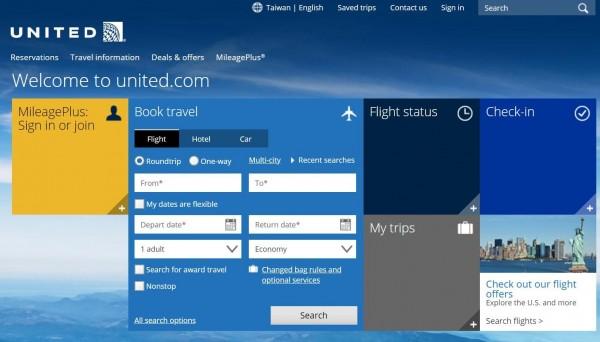 聯合航空官網上仍然可以看到將「台灣」列為國家的中英文網頁,並未做任何更改。(圖擷取自聯合航空官網)