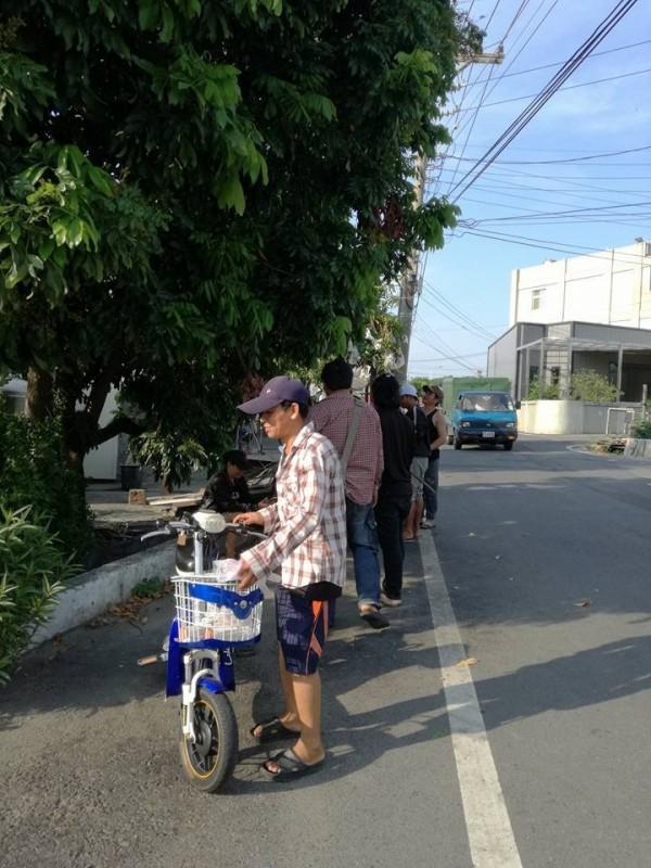 有群泰國移工戴著手套,在龍眼樹下忙著抓椿象,經細問得知是當成野味準備大快朵頤。(圖擷取自黃合志臉書)