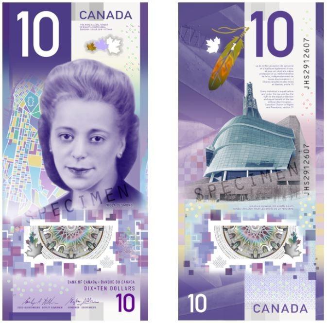 加拿大去年底發行的10元直鈔榮獲「2018年度鈔票獎」。(圖擷取自IBNS官網)