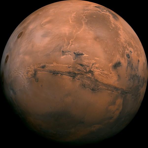火星為八大行星當中的類地行星,外觀呈現橘紅色。(美聯社)