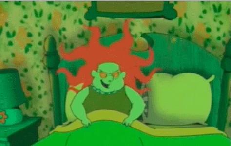 網友都說納豆敷面膜更像卡通《膽小狗英雄》的茉莉兒。(取自網路)