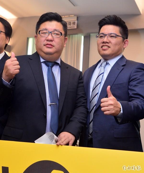 時代力量將推出律師邱顯智(右)、學者胡博硯(左)將對上國民黨立委張慶忠、呂學樟。(資料照,記者王藝菘攝)
