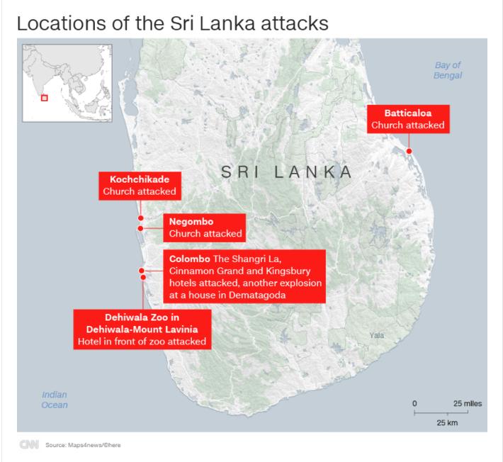 《CNN》整理出發生爆炸事件的位置。(圖擷取自CNN)