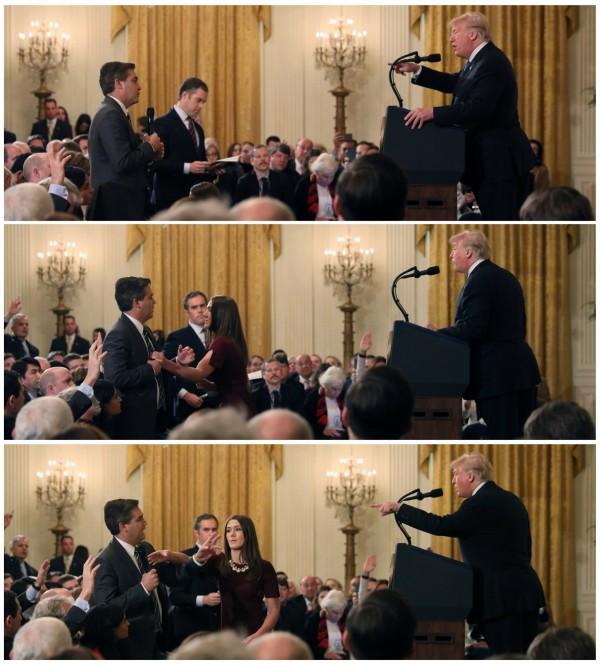 白宮發言人桑德斯(Sarah Sanders)表示,阿科斯達在記者會上與實習生發生肢體接觸,無法容忍一名記者對一名試著做好本分工作的白宮實習生動手。(路透資料照)