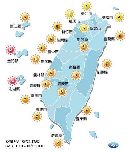 北部為中量級,中南部跟連江縣為高量級,澎湖縣跟金門縣則為過量級。(圖擷取自中央氣象局)