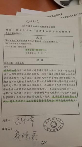 這份由國民黨立委呂學樟提出的預算案,內容指出台南地檢署偵查地方選舉賄選案,疑有不當政治壓力介入,企圖影響辦案公正與選舉結果,因而建議全數凍結台南地檢署的預算。(圖擷取自林淑芬臉書)