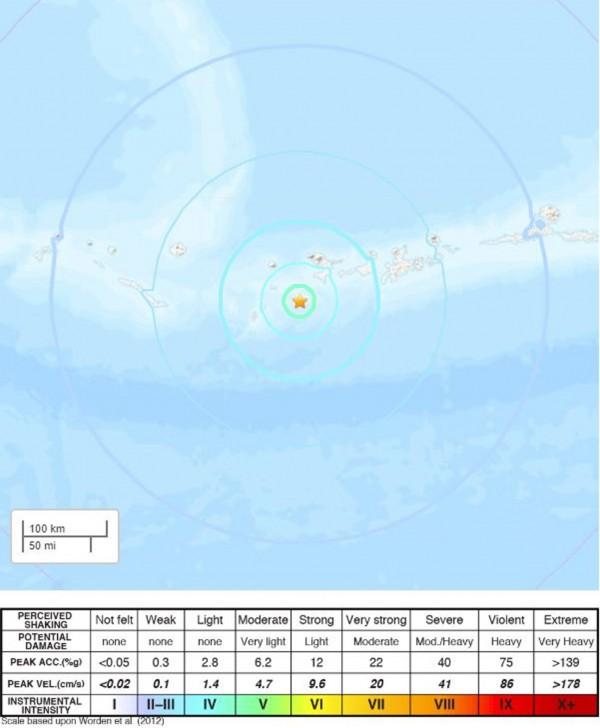 阿拉斯加發生規模6.1強震。(歐新社取自美國地質調查所(USGS)網站)