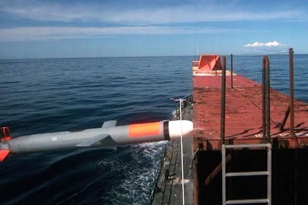 今年1月Block IV戰斧導彈曾進行射擊試驗,當時導彈在移動中的貨運船上,將集裝箱打穿了一個洞。(圖擷自Raytheon網站)