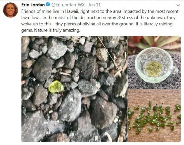 網友上傳撿到小綠寶石照片,引發討論。(圖擷取自推特)