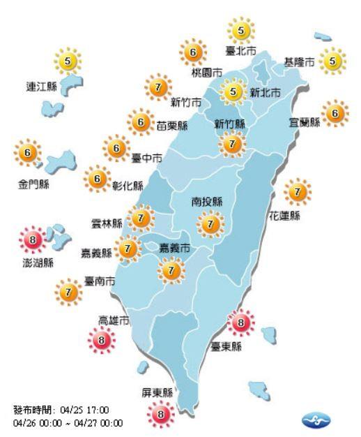 紫外線方面,明天高雄市、屏東縣、台東縣及澎湖縣為過量級;台北市、新北市、基隆市及連江縣為中量級,其餘縣市皆為高量級,提醒民眾仍需注意防曬。(圖擷取自中央氣象局)