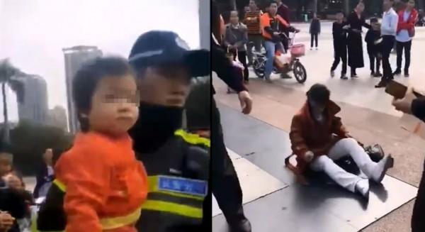 中國人口販子(右)看見警方出現,立刻開始裝瘋賣傻。(圖擷取自微博)