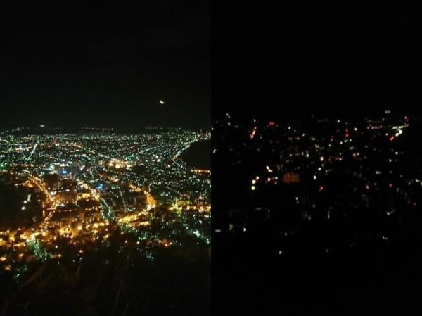 北海道地震後,有世界三大夜景之稱的「函館夜景」,瞬間漆黑一片。(圖擷取自推特)