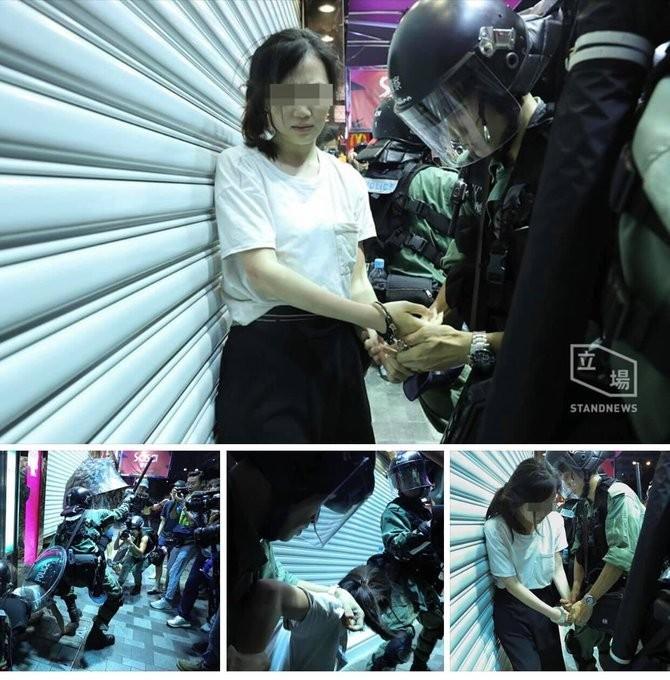 女子遭港警逮捕。(擷取自立場新聞)