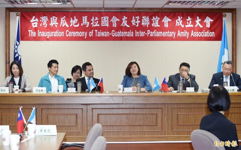 民進黨立委林靜儀(右三)20日舉行「台灣與瓜地馬拉國會友好聯誼會」成立大會,瓜地馬拉大使葛梅斯(Willy Alberto Gomez Tirado)(左三)出席。(記者廖振輝攝)