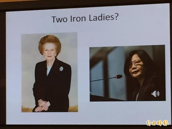 美國學者林蔚將蔡英文與柴契爾夫人並列為「鐵娘子」,指馬英九總統頭腦不清楚,我駐美代表處竟多次向林蔚表達關切。(記者曹郁芬攝)
