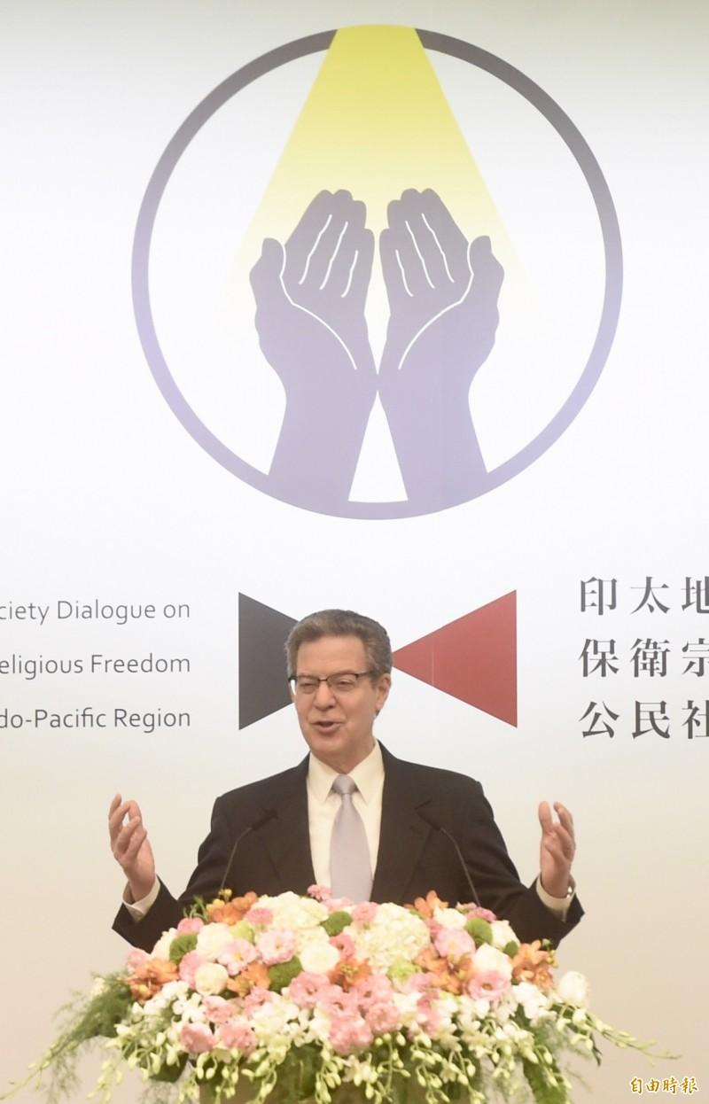 美國國務院國際宗教自由無任所大使布朗貝克11日出席「2019年印太區域保衛宗教自由公民社會對話」開幕致詞。(記者簡榮豐攝)
