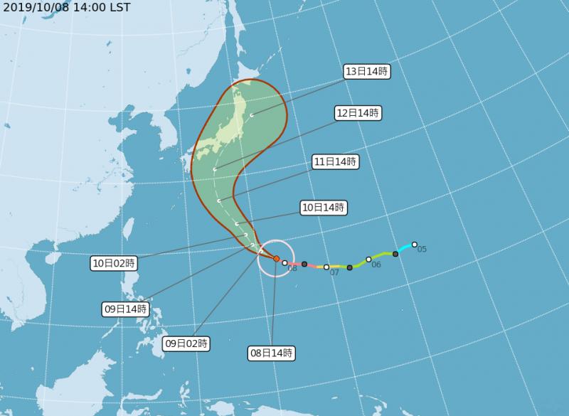 第19號強烈颱風「哈吉貝」路徑潛勢圖。(圖擷取自中央氣象局)