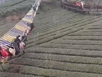 湖北宜昌1座吊橋因人潮眾多而翻覆。(圖取自微博)
