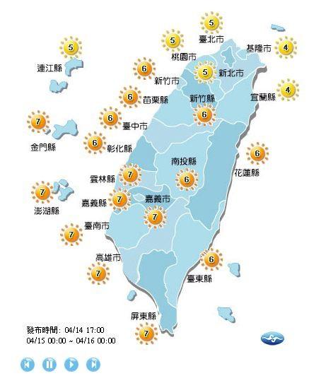紫外線方面,北北基、桃園、新竹市、宜蘭、連江縣為中量級;其餘地區為高量級。(圖擷取自中央氣象局)
