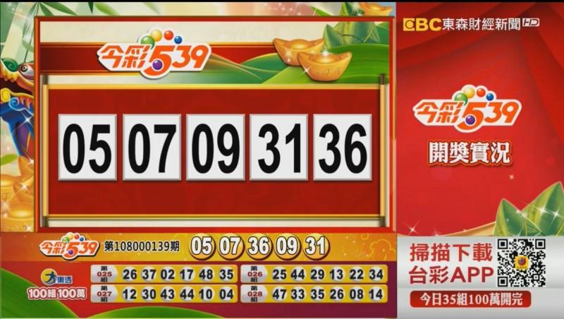 今彩539、39樂合彩開獎號碼。(圖擷取自東森財經新聞)
