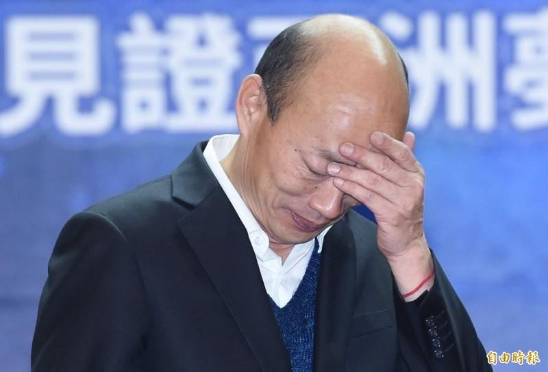 有韓粉為了挺韓國瑜(見圖),竟然竄改《蘋果民調》圖表,把舊民調標註為「0908後電話民調」,大喊「韓國瑜市長第一」自嗨。(資料照)