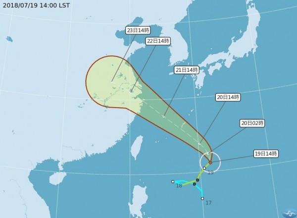 雖然颱風安比沒有直接影響台灣,不過週六、週日其外圍環流將帶來一些水氣,影響北部、東北部地區出現零星陣雨(圖擷取自中央氣象局)