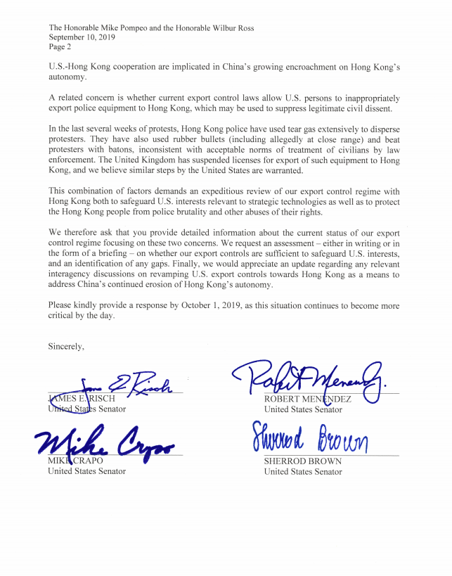 信中要求美國當局在10月1日前做出回覆。(圖擷取自推特_@SenRubioPress)
