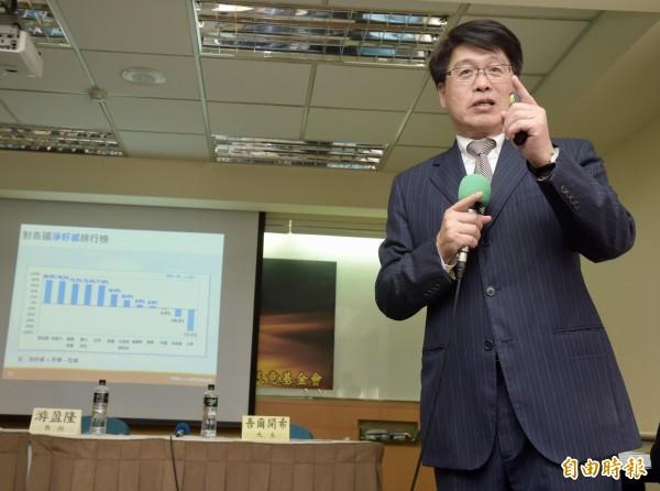 台灣民意基金會今天(20日)舉行「台灣人最喜歡的國家」全國性民調發表會,由董事長游盈隆主講。(記者黃耀徵攝)