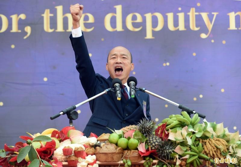 高雄市長韓國瑜上任百日接受媒體專訪時表示,自己一直講4個e,但「沒有一點我可以做的,我統統力量不夠,法令我也沒有辦法修改,預算錢也不夠」,強調自己「很著急」。(資料照)
