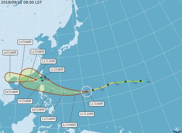 山竹颱風路徑潛勢圖。(圖取自氣象局)