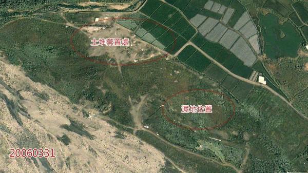 雖然卓蘭鎮公所出面澄清是將原遭亂倒廢棄物的國有地,打造成公園綠地與溼地生態池,但仍遭保育人士PO出衛星照打臉,批評公所「如果善用善用衛星資料,就會看到這段說明是部分有問題的」。(圖擷取自李璟泓臉書)