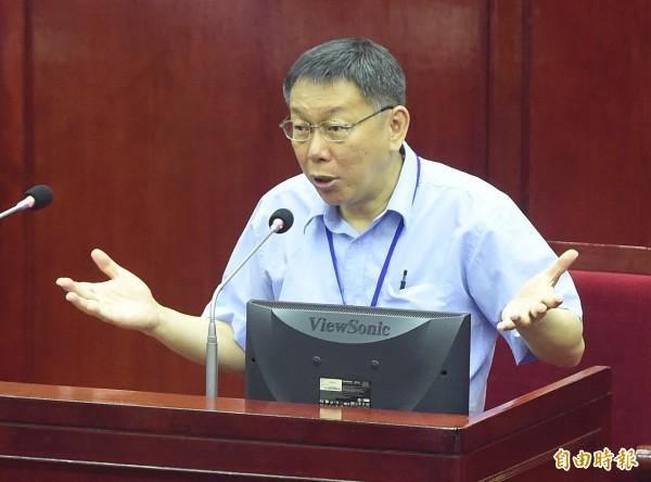 台北市長柯文哲赴台北市議會專案報告。(記者廖振輝攝)