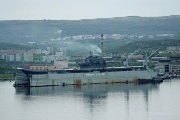 外媒披露,俄国希望中国帮忙修复俄国海军唯一的航空母舰「库兹涅佐夫号」。(路透)