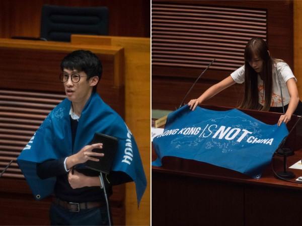 香港本土派政黨「青年新政」候任議員梁頌恆、游蕙禎,在宣誓就職時稱中國(China)為「支那」,遭判定宣誓無效且禁止宣誓,後續引發一陣風波。(資料照,法新社)