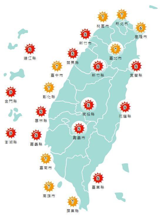 紫外線方面,明天基隆市、雙北、桃園市、台中市、彰化縣、台南市、高雄市以及屏東縣紫外線指數為「高量級」,其他地區皆為「過量級」。(圖擷取自中央氣象局)
